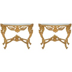 Pair of Italian 19th Century Louis XV St. Giltwood and Marble Consoles