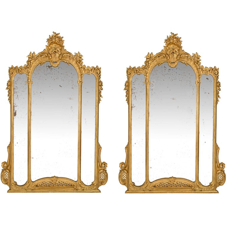 Pair of Italian, late 19th Century/early 20th century Louis XV Style Mirrors