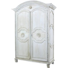Early 19th Century Carved French Oak Painted Armoire