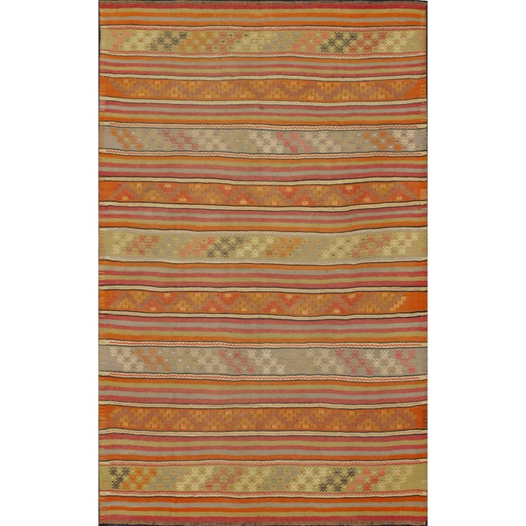 Turkish Kilim Vintage Rug with Assorted Stripe Design in a Variety of Colors