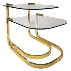 Set of Two 1970s Curved Brass and Glass Nesting Side Tables