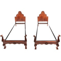 Pair of Fine Quality Carved Burr Walnut Single Beds