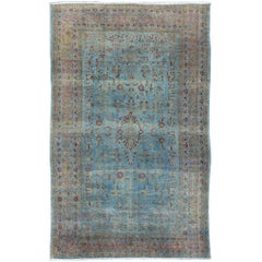 Blue Background Antique Persian Rug with Salmon, Blue and Red