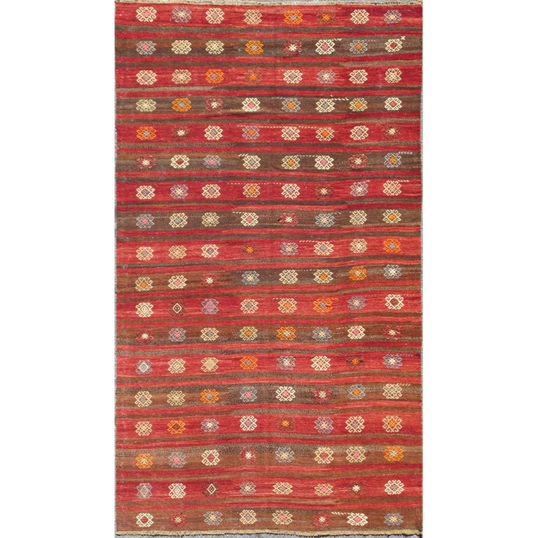 Colorful Red and Brown Striped Turkish Kilim Rug with Geometric Shapes