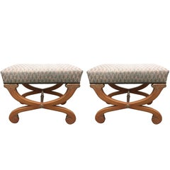 Pair of Fortuny Upholstered Painted Curule Benches