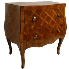 Italian Olivewood Bombe Commode with Parquetry Inlay
