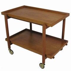 1960s Poul Hundevad Extendable Teak Serving Bar Cart, Denmark