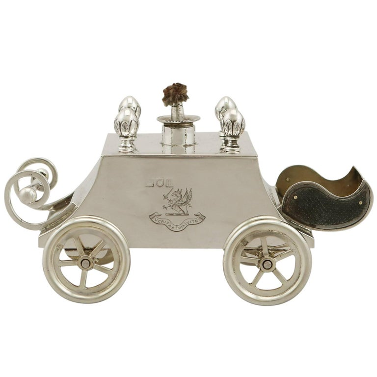 1907 Antique Edwardian Sterling Silver Carriage Table Lighter