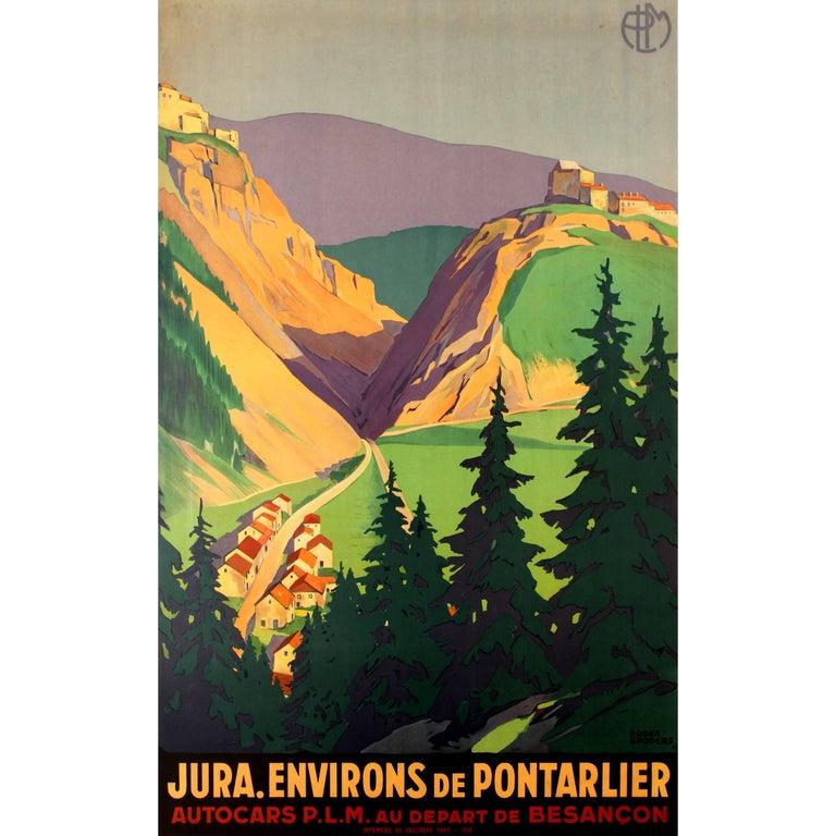 Original Vintage PLM Railway Poster by Broders for Jura - Environs De Pontarlier