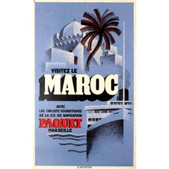 Original Vintage Travel Poster Advertising Paquet Shipping Tours - Visit Morocco