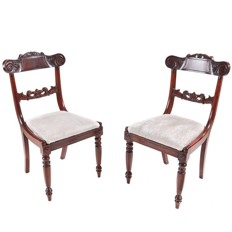 Pair of William IV Mahogany Side Chairs