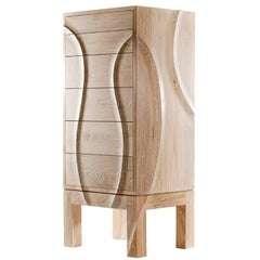 Esker Tallboy in Oak with Hand Carved Pattern
