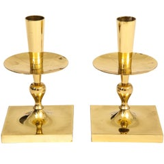 Tommi Parzinger Brass Candlesticks Dorlyn Signed, USA, 1960s