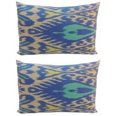Pair of Vintage Blue and Aqua Silk Ikat Lumbars Decorative Pillows