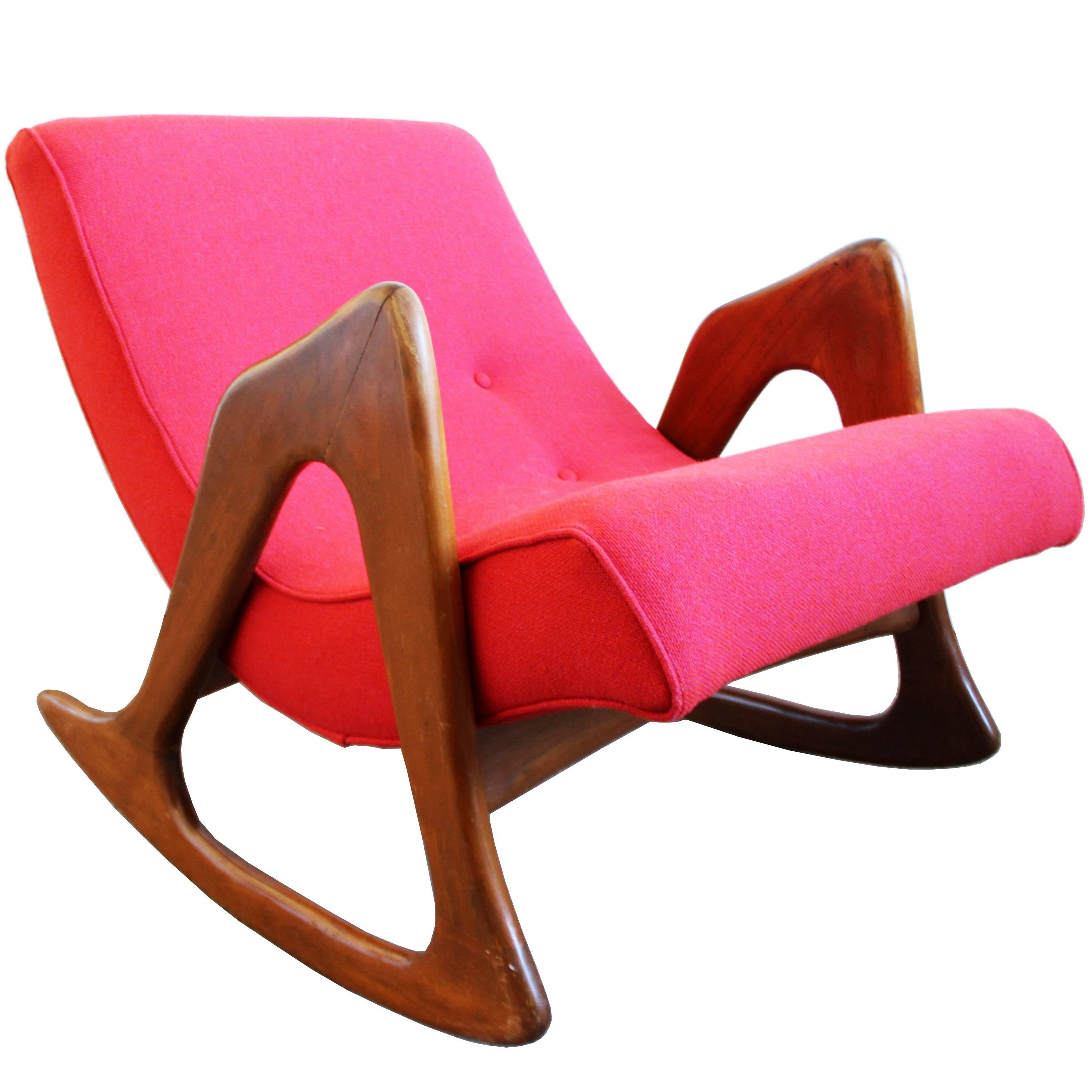 Mid Century Modern Adrian Pearsall Sculptural Walnut Rocker Lounge Chair
