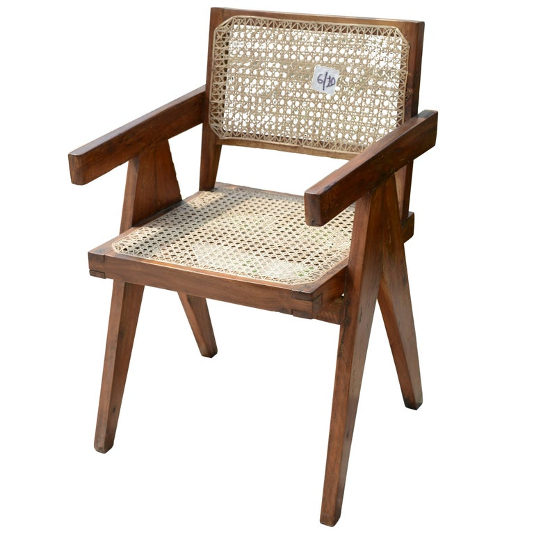 Pierre Jeanneret Office Cane Chair, Rare with Letters from Punjab National Bank For Sale