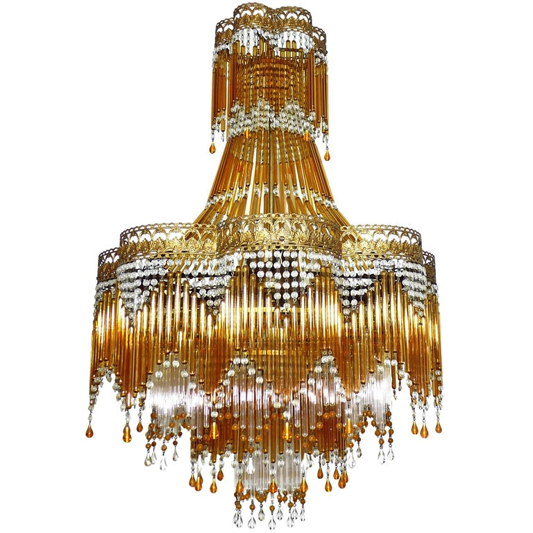 Italian Art Deco/ Art Nouveau Amber and Clear Beaded Glass Murano Chandelier