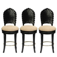 Set of Three Italian Carved Shell Back Bar Stools