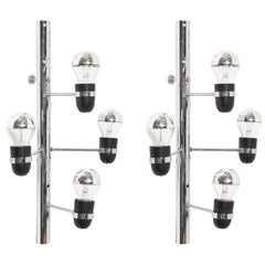 Set of Four-Light Chrome Sconces by Gino Sarfatti for Arteluce, Italy