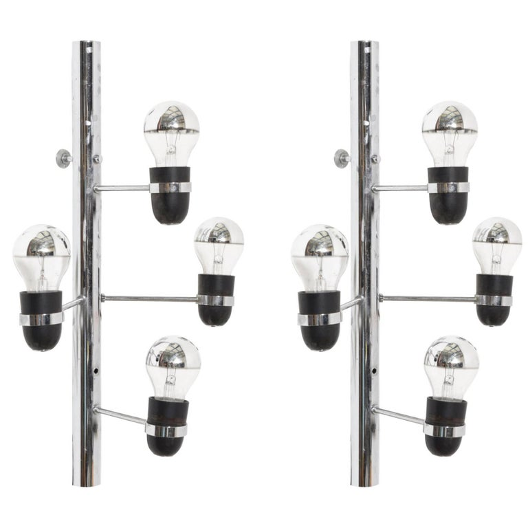 Set of Four-Light Chrome Sconces by Gino Sarfatti for Arteluce, Italy For Sale