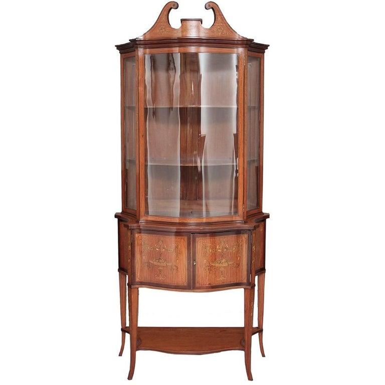 Satinwood Sheraton Revival Inlaid Display Cabinet