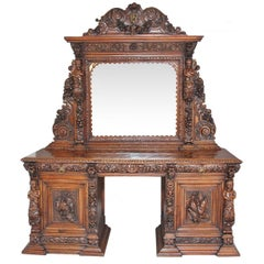 Outstanding Carved Oak Pedestal Sideboard