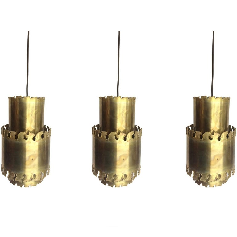 Set of Three Holm Sorensen Brass Pendant Lights