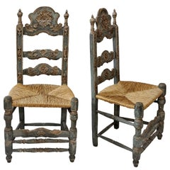 Pair of Mid-18th Century Painted Spanish Baroque Side Chairs, circa 1760