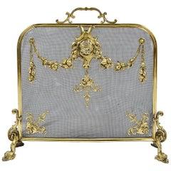 Louis XVI Style Brass Fire Screen
