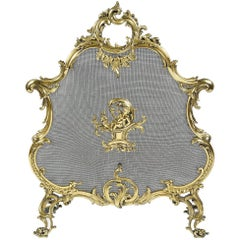 19th Century Brass, Louis XVI Style Fire Screen