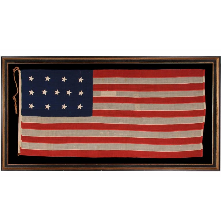 Entirely Hand-Sewn, 13 Star, U.S Navy Small Boat Ensign Flag