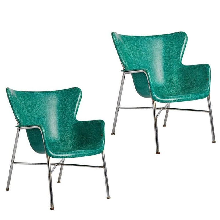 Pair of Incredible Wingback Fiberglass Chairs by Selig, circa 1960s For Sale