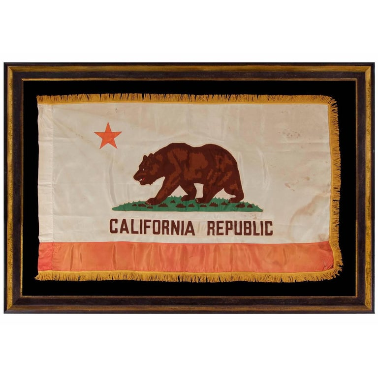California State Flag, with Attractive Coloration and Gold Silk Fringe For Sale
