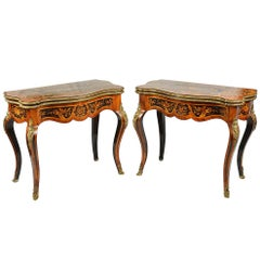 Pair of Louis XVI Style Marquetry Card Tables, 19th Century