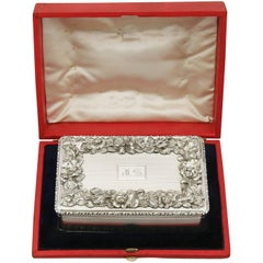 1843 Antique Victorian Sterling Silver Table Snuff Box