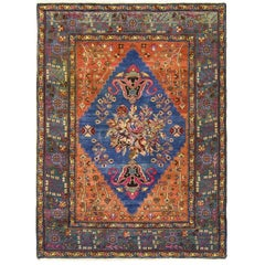 Antique Geometric and Floral Persian Tafrish Rug