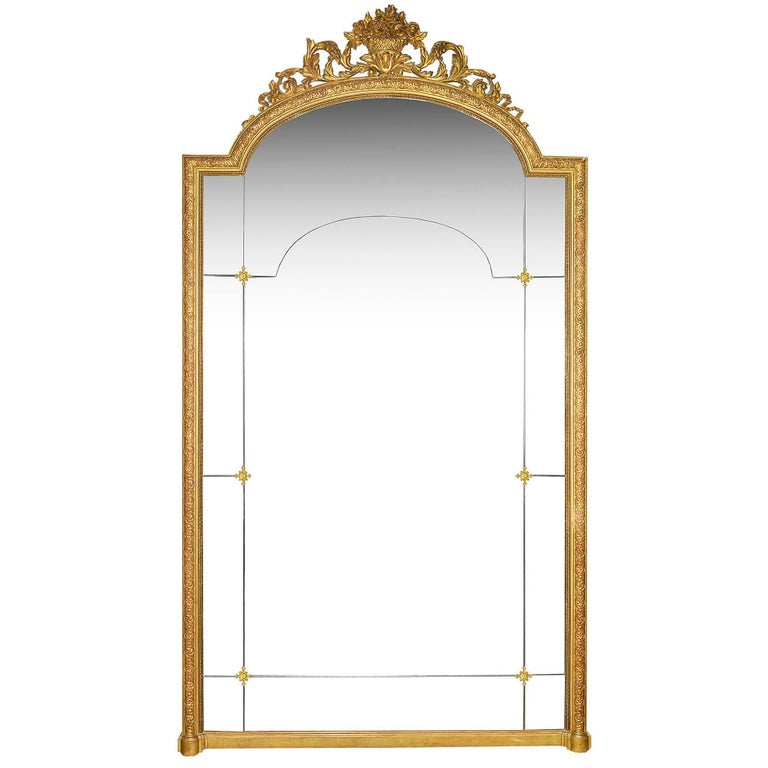 Large carved wood floor standing or overmantel mirror for Wood floor length mirror