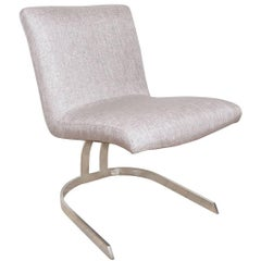 Pair of Petite Chrome Upholstered Cantilevered Chairs