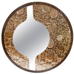 Rosewood Veneer Mirror with Reverse Sculptural Design
