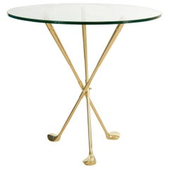 """Circular Glass Table with Brass Tripod """"Golf"""" Themed Base"""