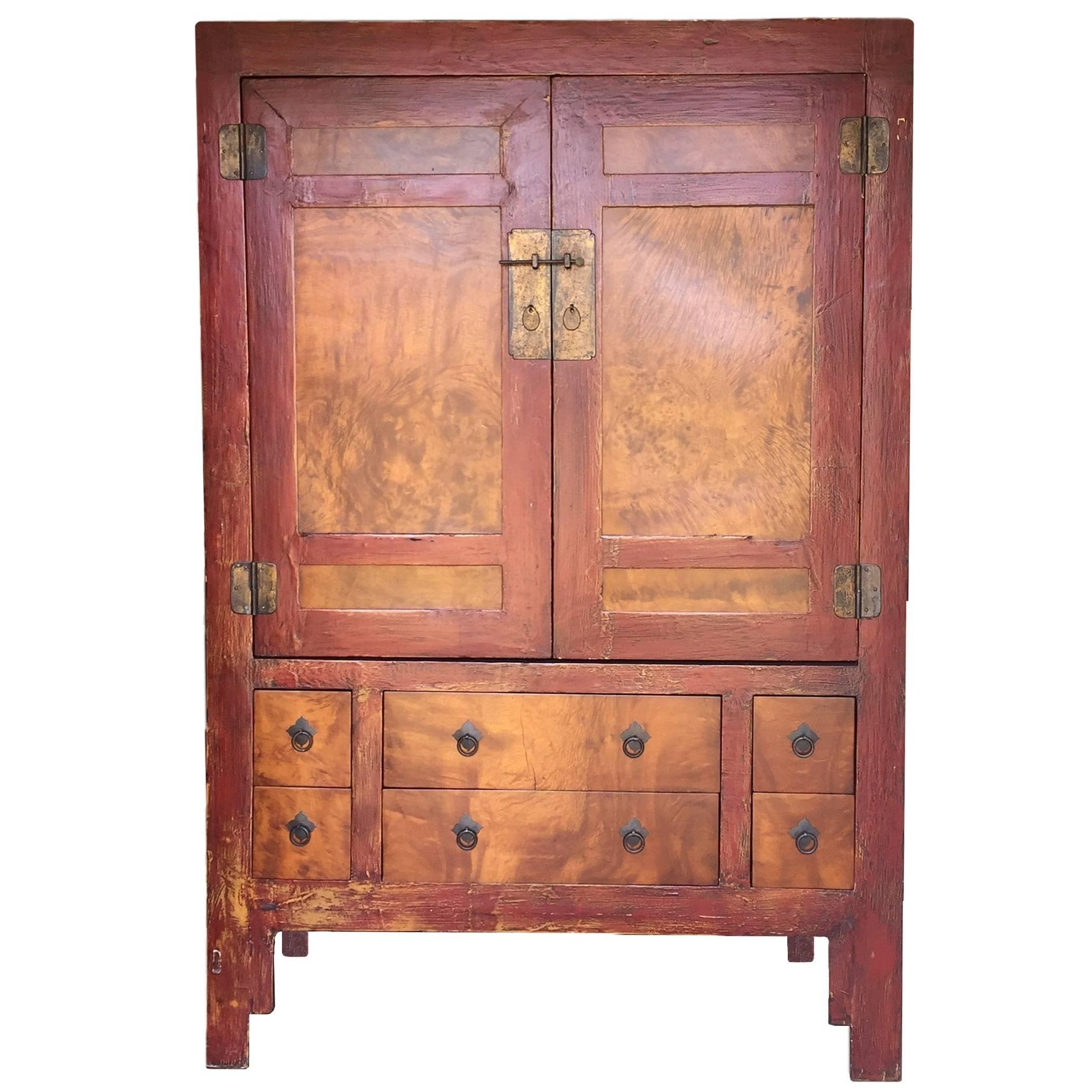 Large Burlwood Armoire, Red And Gold Burl Wood Cabinet For Sale