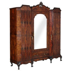 Eclectic Baroque Chippendale Wardrobe in Burl and Ebonized Carved Walnut