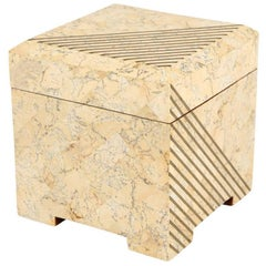Tessellated Box Stone Brass Maitland-Smith Hinged, USA, 1980s
