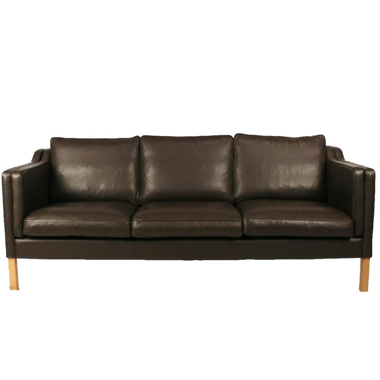 White Leather Sofas Montreal: Vintage Danish Chocolate Brown Leather Three-Seat Sofa At