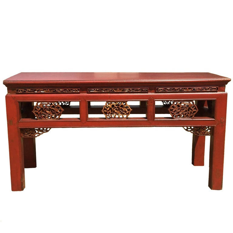 Pair Finely Carved Antique Red Benches Chinese 19th Century Gilded For Sale At 1stdibs