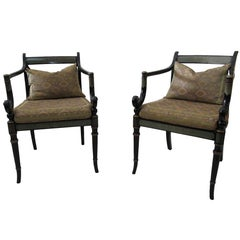 Six Elegant English Regency Armchairs