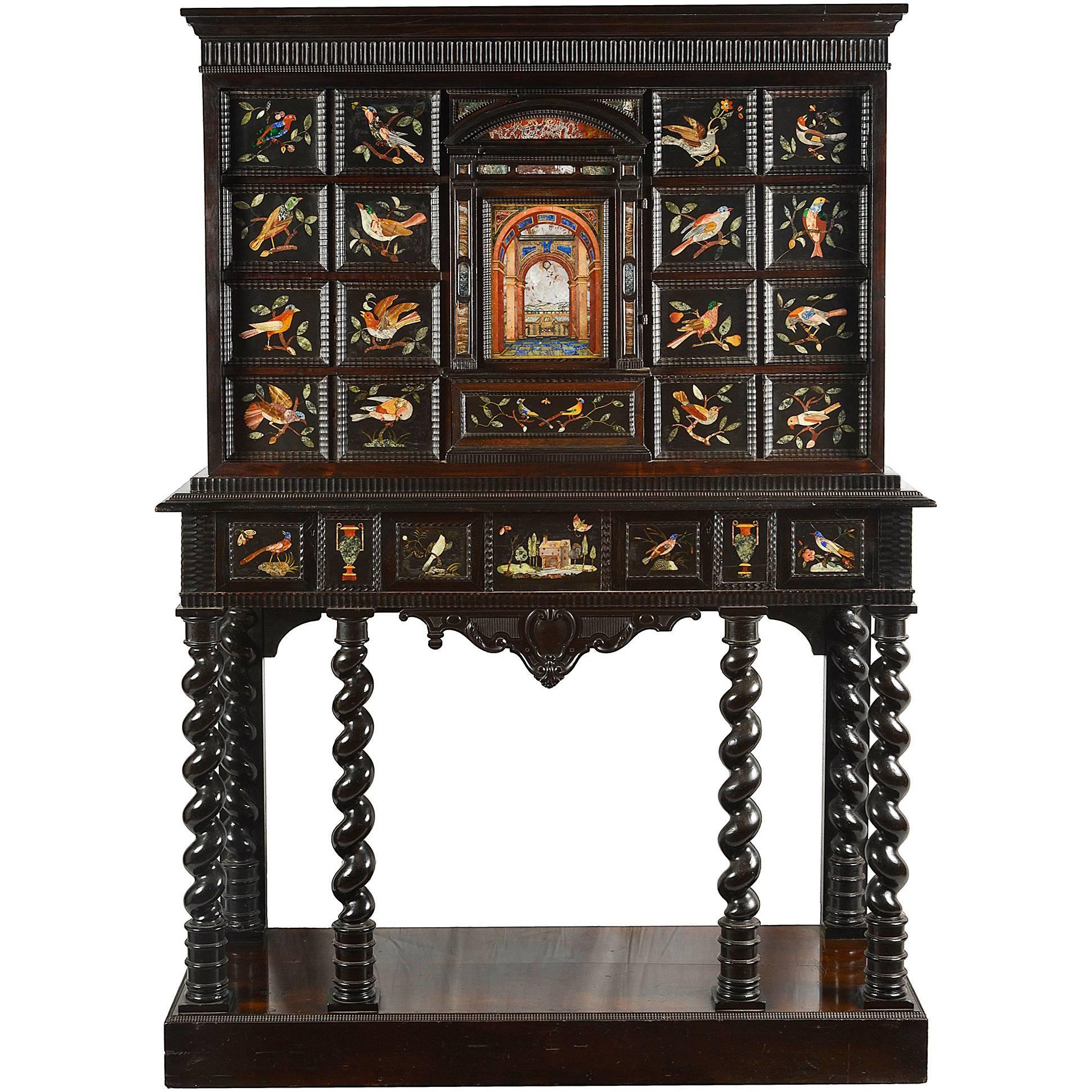 Italian Pietra Dura Cabinet On Stand, 18th Century For Sale