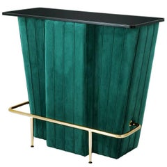Saloon Bar in Green Velvet Fabric and Black Glass Top