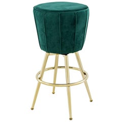 Saloon Stool in Green Velvet Fabric and Champagne Gold Finish