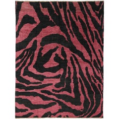 Contemporary Red-Pink and Black Zebra Print Rug, Moroccan Style Rug